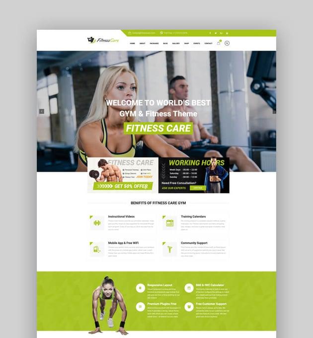 Fitness Care - CrossFit WordPress Template
