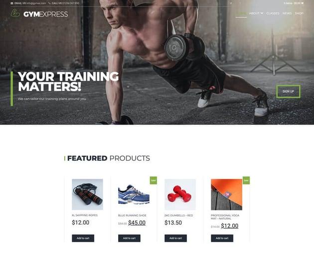 Gym Express - Fitness WordPress Theme Free Download