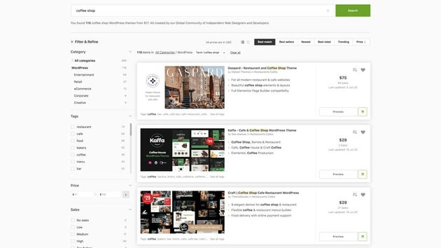 coffee shop WordPress themes