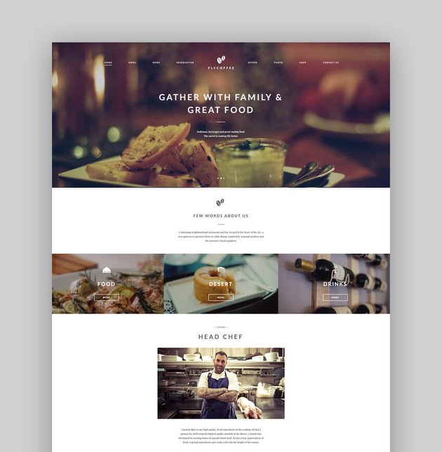 FlyCoffee Shop - Responsive Cafe and Restaurant WordPress Theme