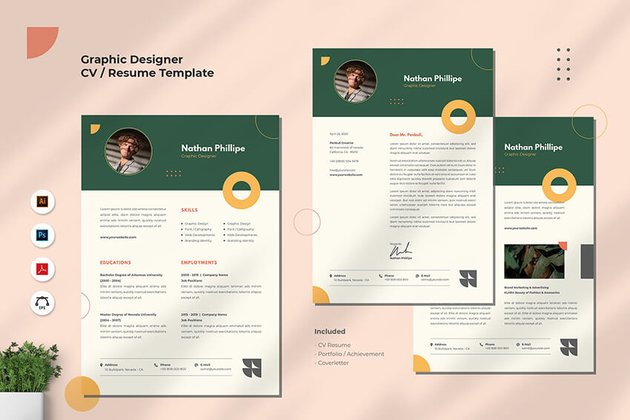 Graphic Designer Resume With Shapes And Colored Sections