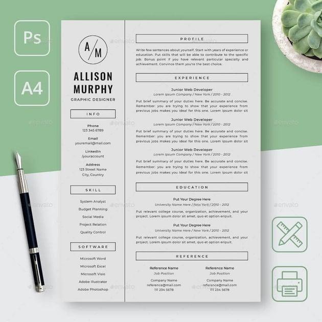Simple Graphic Designer Resume Template