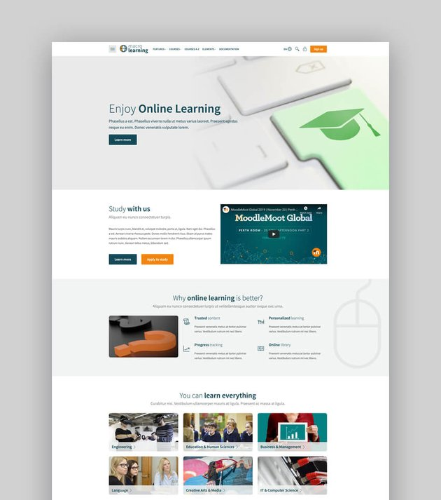 Macro Learning  University Moodle Theme