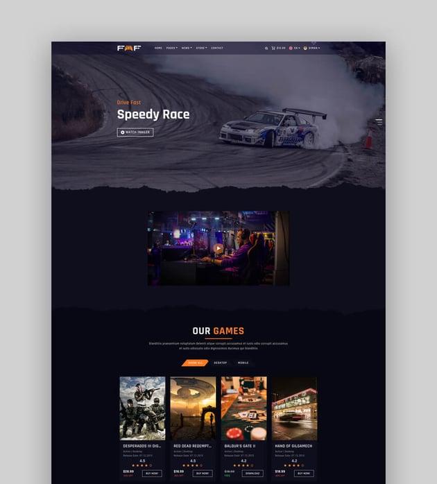 Faf - Gaming Website HTML Template