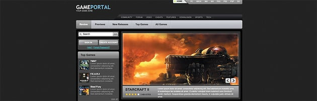 GamePortal Free Gaming Website Template
