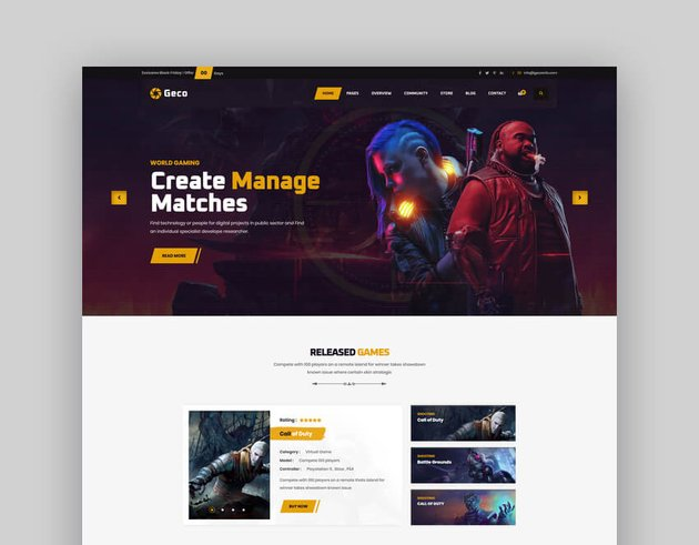 Geco - eSports Gaming Website HTML5 Template