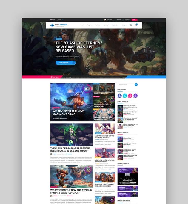Pixel Diamond - HTML eSports Team Sports Results Gaming Magazine Community