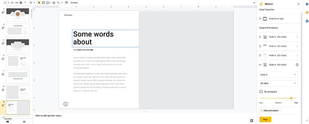 Adjusting animations in the Google Slides template