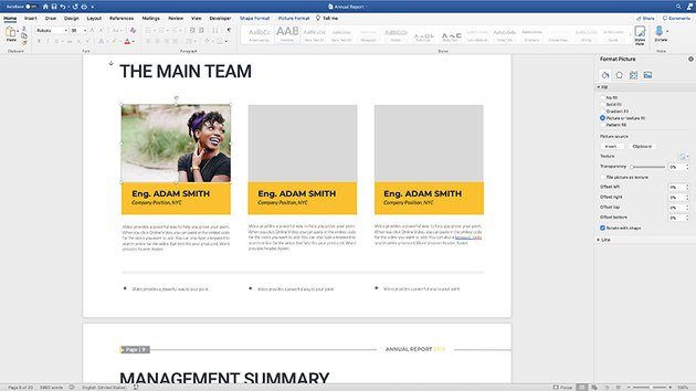 Importing images in the annual report template