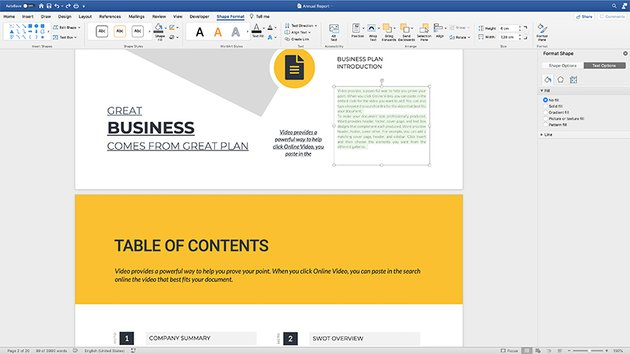 Replacing content in the annual report template