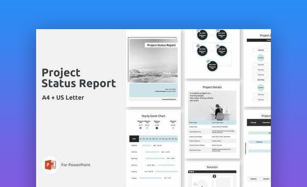 A4 Project Status Update Vertical PowerPoint Template