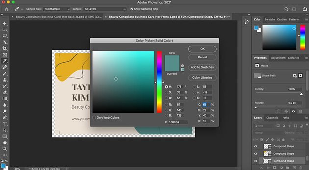 Customizing colors in the Business Card template