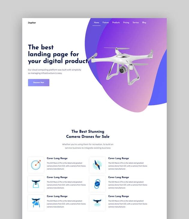 jupiter sleek product landing page