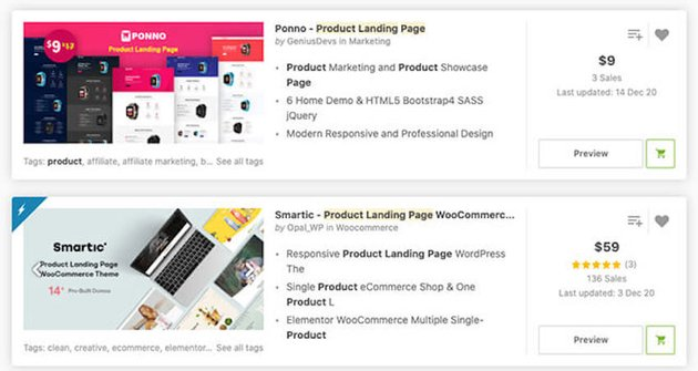landing page templates on ThemeForest