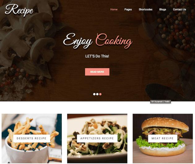 Recipe lite free delivery WordPress theme