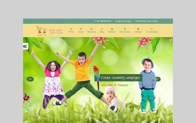 kids zone toy store wordpress theme