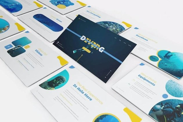 Diving Clubs PowerPoint template
