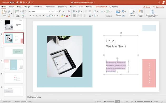 Adding content to the Nexia template
