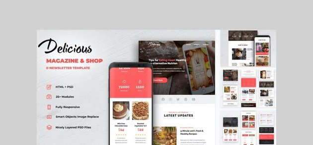 Delicious - Magazine & Shop E-Newsletter Template by creakits