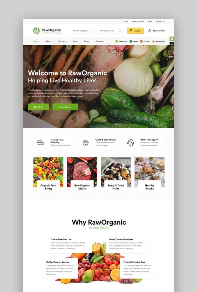 RawOrganic healthy WordPress theme