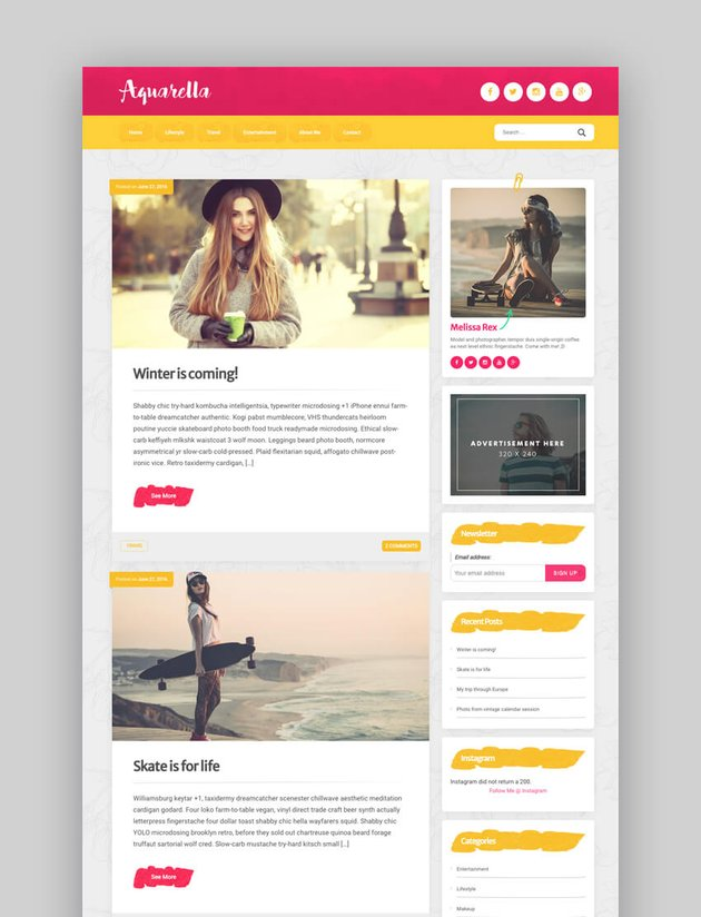 Aquarella - WordPress Theme For Vloggers, YouTubers, and Influencers