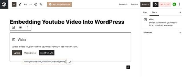 Embed YouTube video using Gutenberg Editor