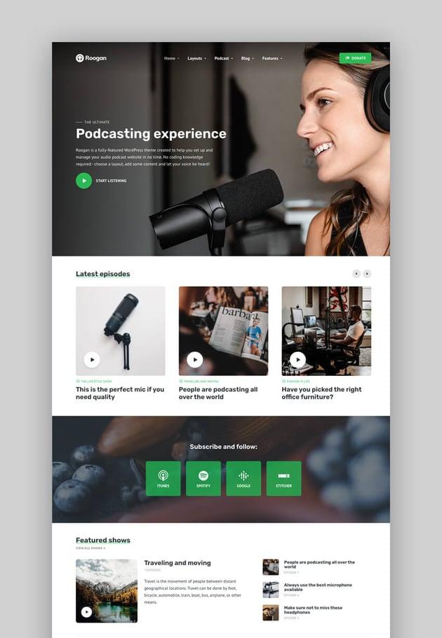 Roogan - Personal Audio Podcast WordPress Theme