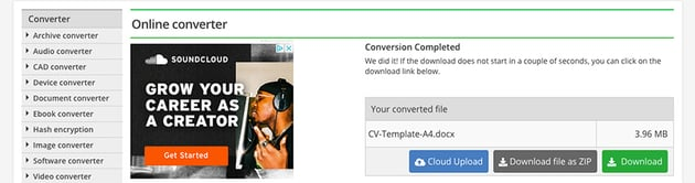 Downloading converted file