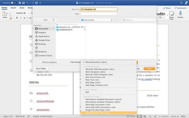 saving file as ODT