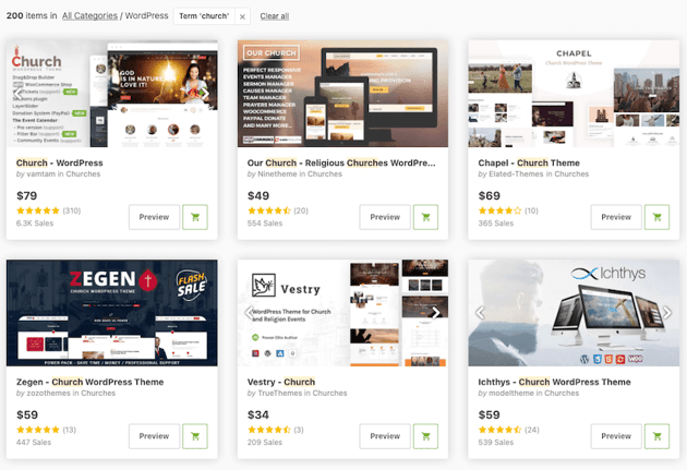 premium church wordpress themes on ThemeForest