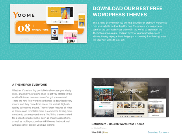 Free themes on ThemeForest