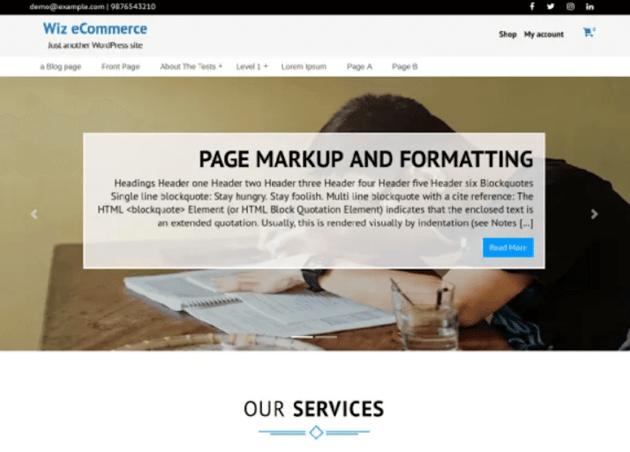 Wiz eCommerce - Free eCommerce WordPress Theme