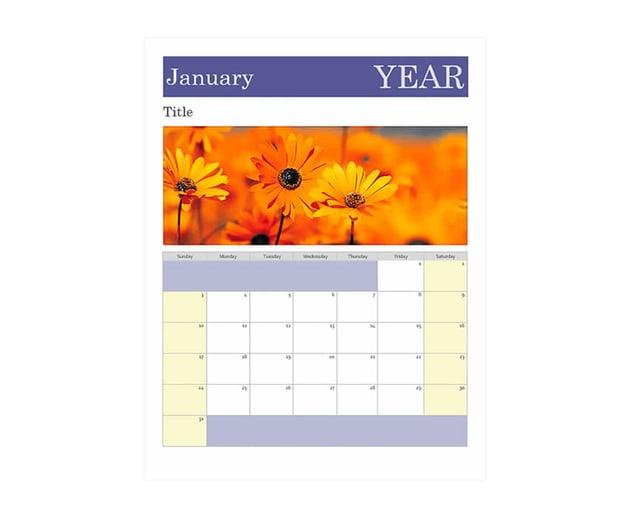 Photo Calendar Word template