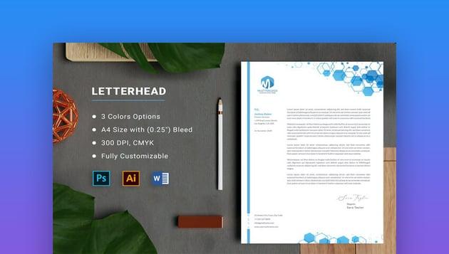 Clean Word Letterhead template on Envato Elements