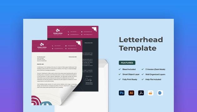 Minimal Word Letterhead template on Envato Elements