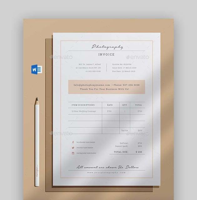 Premium Invoice Template for Word on GraphicRiver