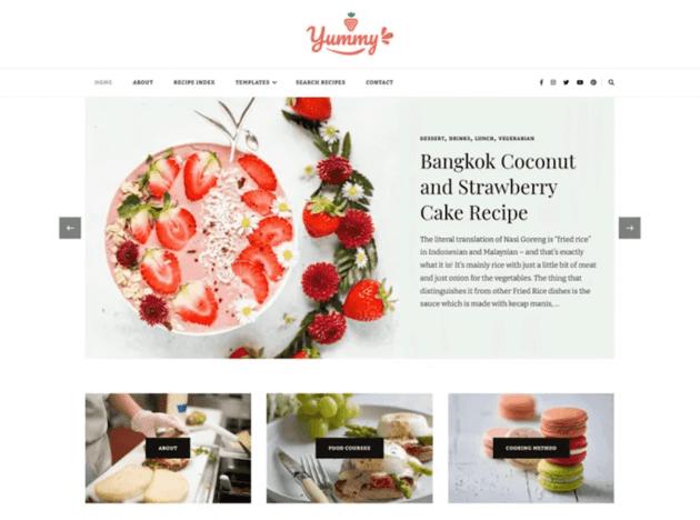 Yummy Recipe WordPress theme
