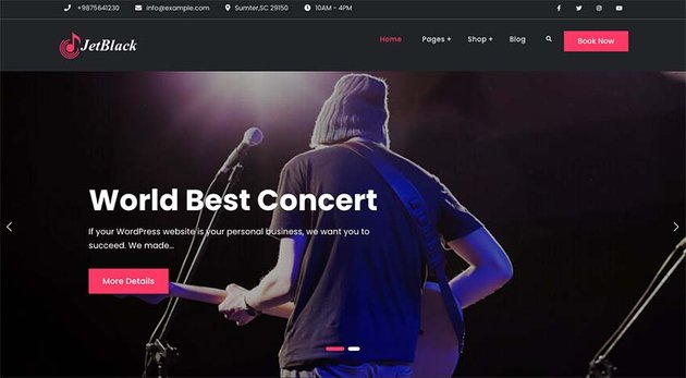 JetBlack Music WordPress Theme