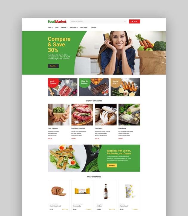 Food Market grocery store WordPress theme