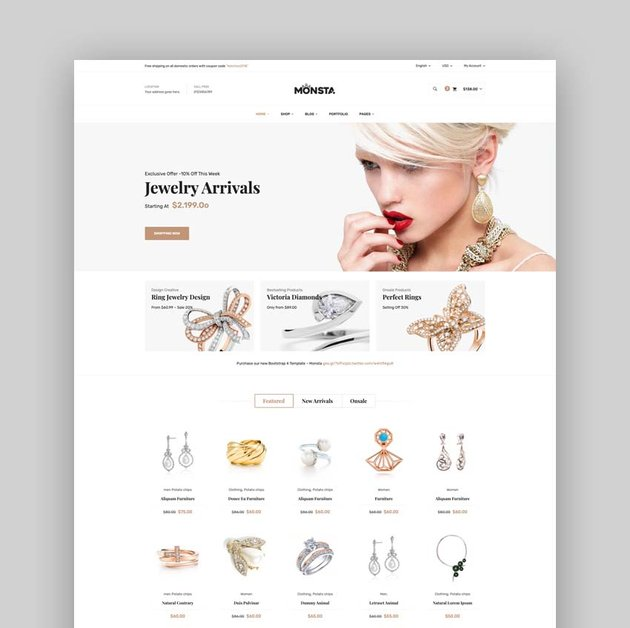 Monsta - Jewelry eCommerce Bootstrap 4 Template