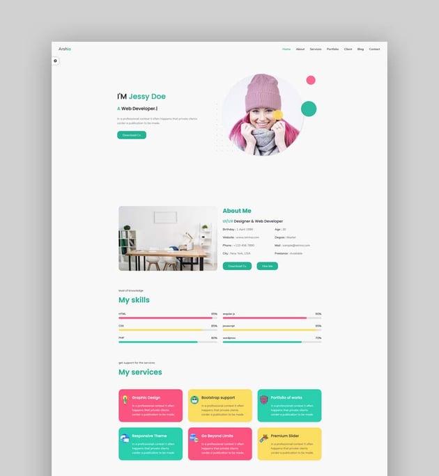 Arshia - Bootstrap 4 Personal, Portfolio And Resume Template