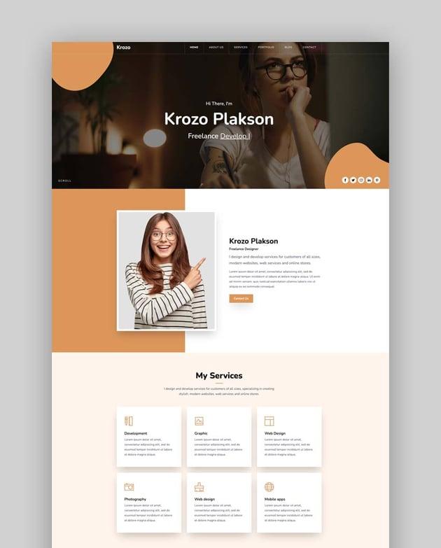 Krozo - Bootstrap 4 Personal Portfolio