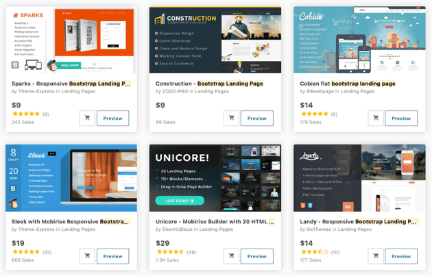 Just a sampling of the Bootstrap landing page templates available on ThemeForest
