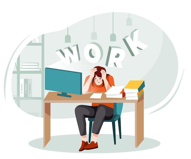 Image of an overwhelmed woman sitting at a desk from Envato Elements