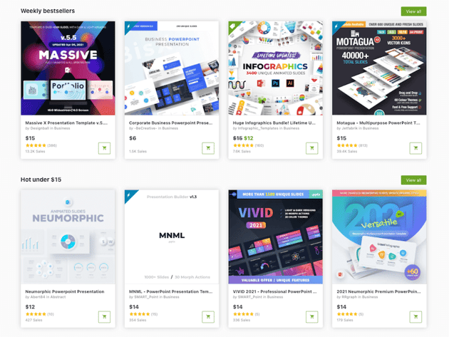 Find PowerPoint templates on GraphicRiver