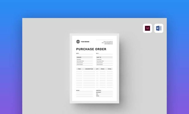 Purchase Order - MS Word & Indesign