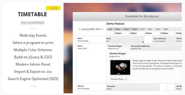 Timetable for WordPress
