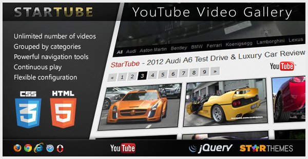 StarTube - YouTube Video Gallery Powered by jQuery