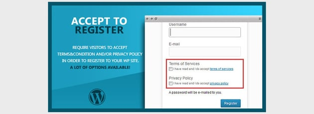 WP Accept to Register Terms of Service Privacy Policy
