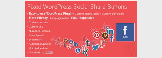 Fixed WordPress Social Share Buttons